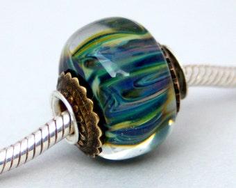 Lampwork European Charm Style Green / Multicolor Big Hole Bead, SRA