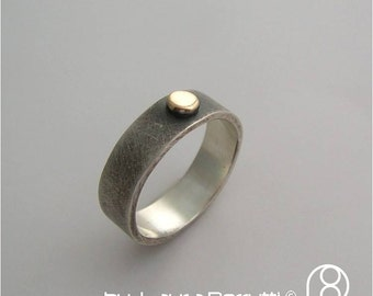 Sterling silver and 14K gold band with Dot