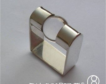 Square Sterling Ring with Crystal Rock Sphere