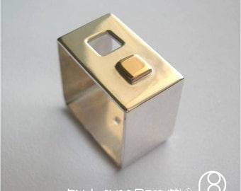Square Sterling Silver Ring With Square Window and Square 14K Gold Detail