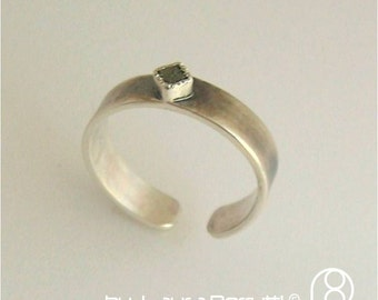 Adjustable Sterling Ring with Square Raw Diamond