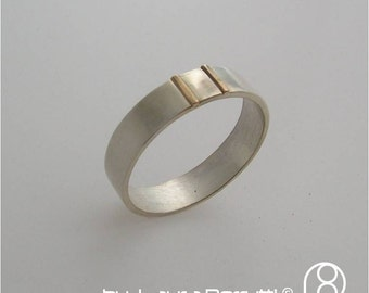 Sterling Silver Band with 18K Gold