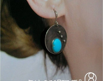 Sterling Silver Earrings with Turquoise Cabochon