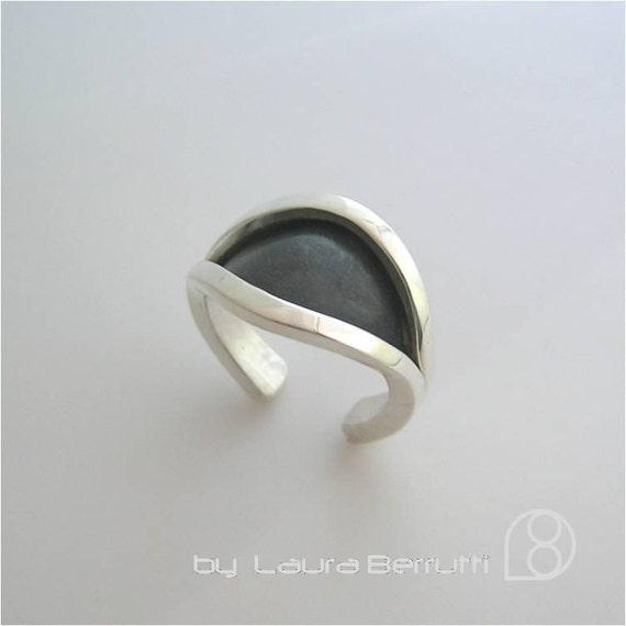 Sterling Silver Open Ring Eye Shaped