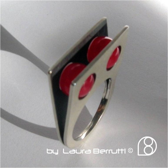 Square Sterling Ring with Two Round Red Quartz Stone Spheres