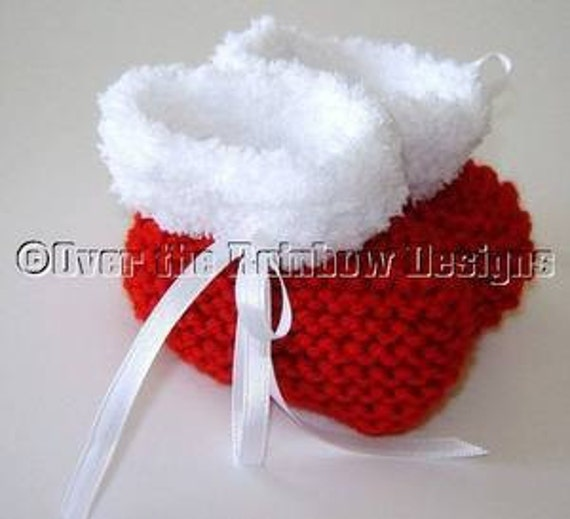 Christmas Baby Booties Knitting Pattern : KNITTING PATTERN for Christmas Baby Booties with Furry Trim
