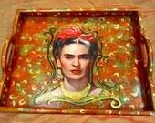 Frida Kahlo portrait tray / upcycled