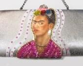 Frida Kahlo Silver Clutch