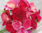 Claycraft by DECO Pink Cymbidium and Dendrobium Orchid with Tea Roses Bridal Hand Tied Bouquet