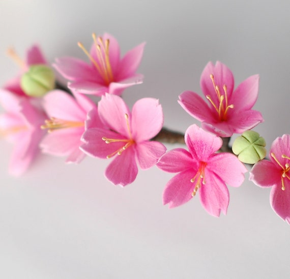 Pink Cherry Blossom Hair Comb