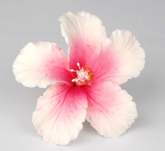 Hawaiian White and Fuschia Hibiscus Hair Flower