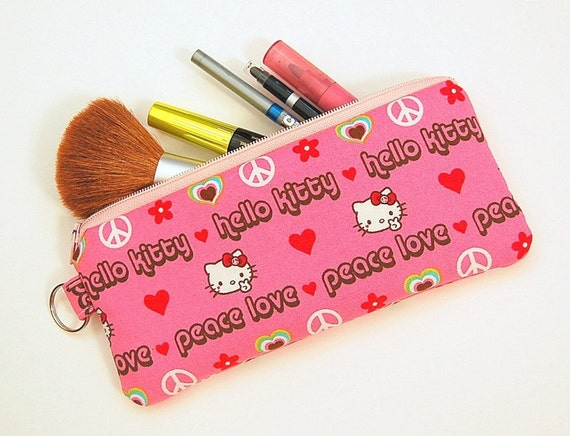 Hello Kitty Peace and Love (Pink) - Pen or Pencil Zipper Pouch