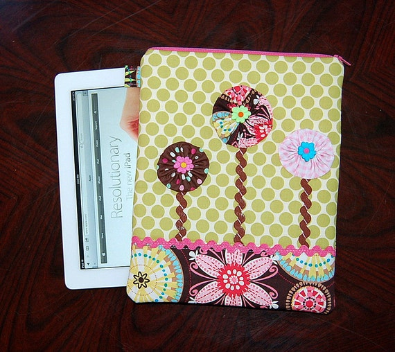 Carnival Bloom Yo Yo Flowers - iPad 1 or 2 / New iPad / Tablet PC Padded Sleeve Case Cover (Only One Made)