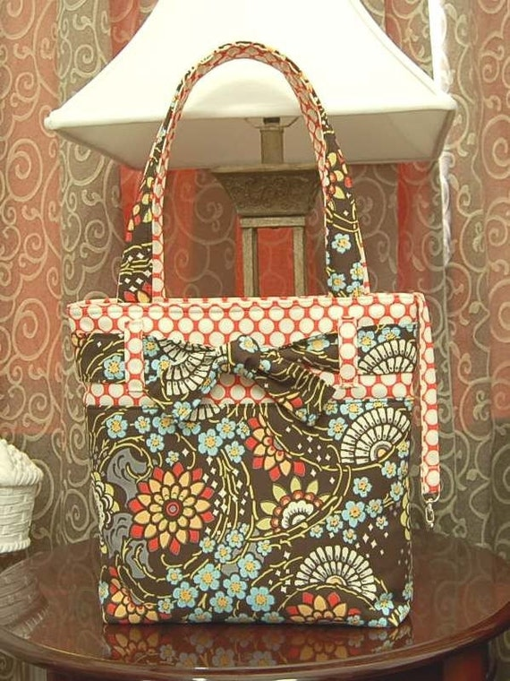 AMY BUTLER Geisha Fans Olive STRAP and BOW TOTE BAG