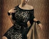 SALE - KIMONO Evening dress in black lace