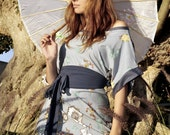 SALE - Japanese garden Kimono Dress in pale blue with a delicate floral print - 59 instead of 99 dollars