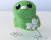 Lucky Tweet Green Needle Felted Tweet Bird With White Shamrock