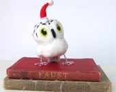 Christmas Decoration Needlefelted Snowy Owl With Red Santa Hat
