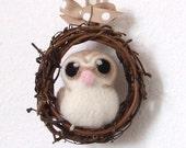 Sale Needle Felted Barn Owl Mini Autumn Wreath with Felt Bird