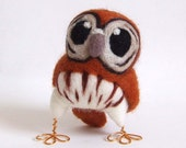 Needlefelted Owl Little Tawny Owl in Ginger Spice Brown - feltmeupdesigns