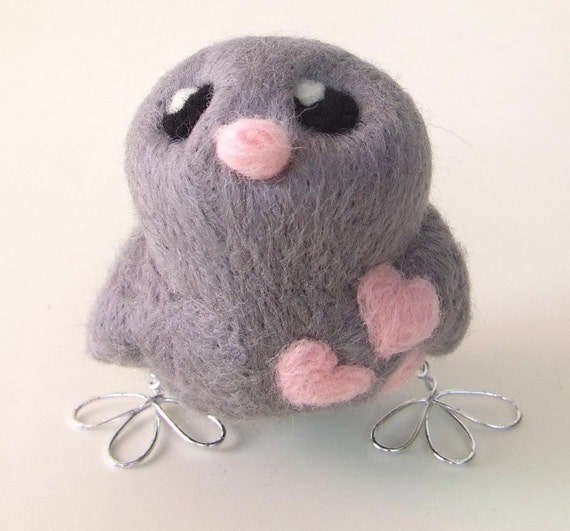 Needlefelted Bird Grey and Pale Pink Love Bird with Hearts