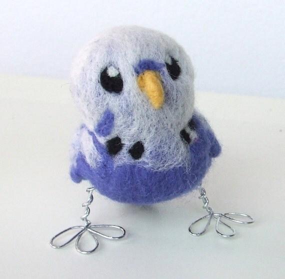 Needlefelted Blue Budgie Budgerigar Felt Bird