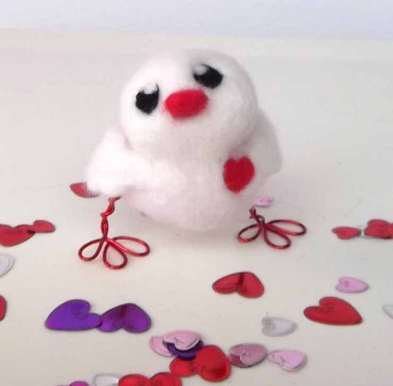 Sale Needlfelted Bird Big Hearted Love Bird in White and Red