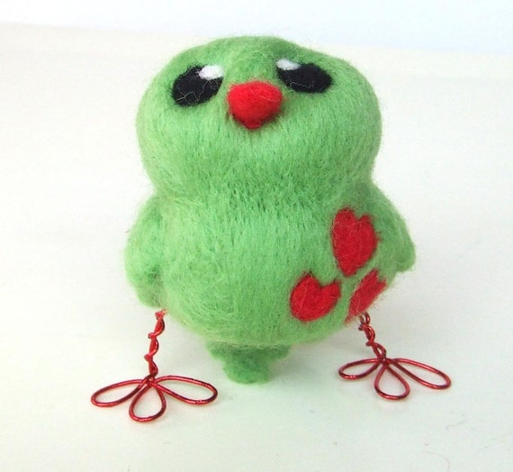 Sale Needlefelted Bird Lime and Strawberry Green and Red Love Bird Tweet