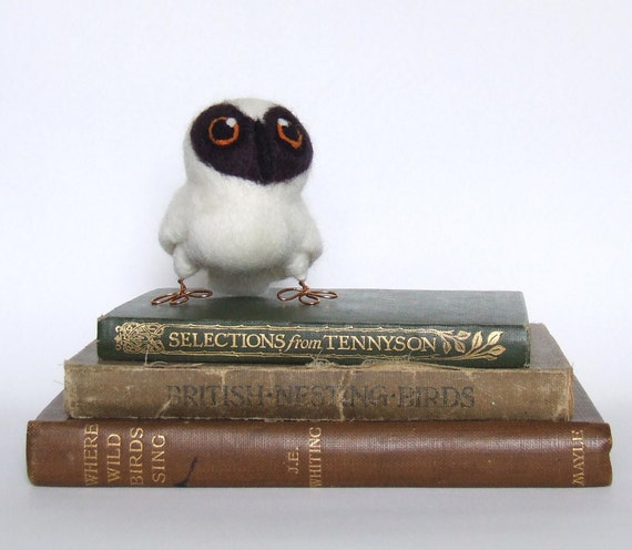 Needle Felted Bird Spectacled Owl Chick Hoot in Natural White