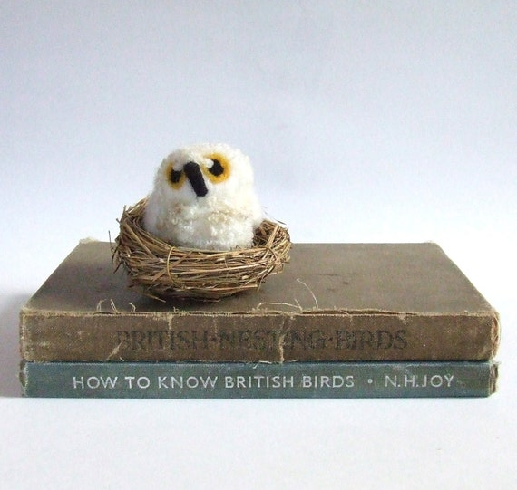 Owl Baby Needlefelted Bird Cute and Fluffy Natural White with Nest