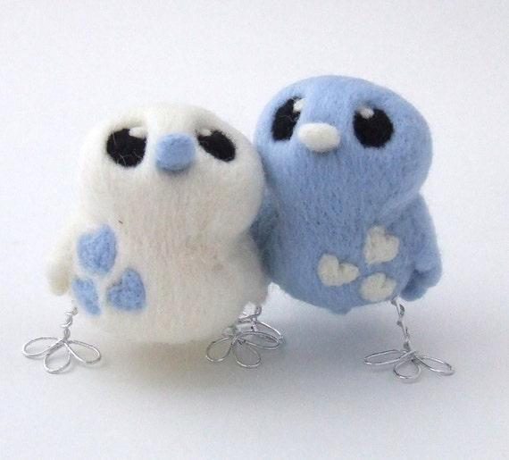 Bird Wedding Cake Topper Pale Blue and White Love Birds Tweet Needle felted Birds