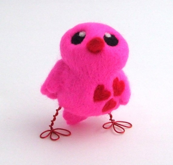 Sale Needlefelted Flourescent Pink Bird With Red Hearts Love Bird Tweet