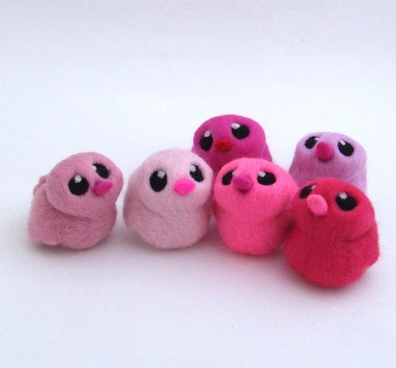 Sale Needle Felted Chick Rose Pink Bird with Bright Pink Beak 1 supplied