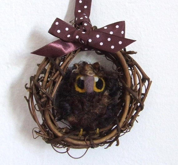 Sale Needle Felted Owl Baby Mini Autumn Wreath with Brown Felt Bird