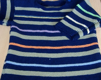Rainbow Handknitted Toddlers Sweater, Age 5