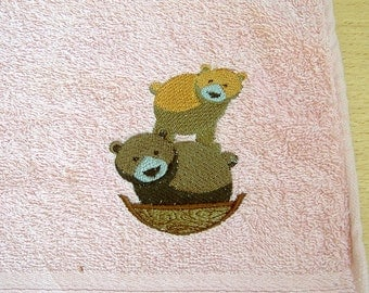 Bears Embroidered Hand Towel