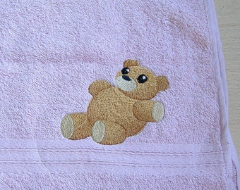 Teddy Bear Embroidered Hand Towel