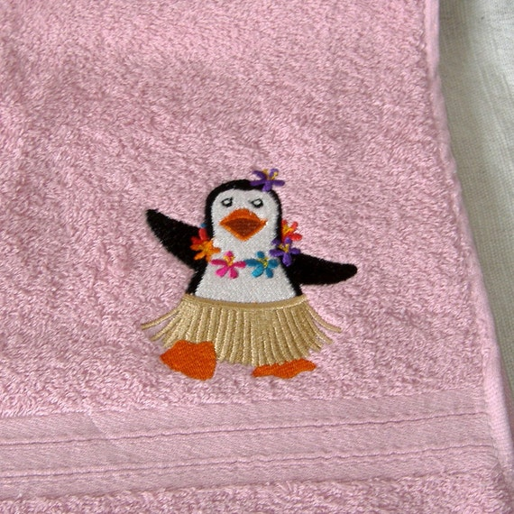 Penguin Embroidered Hand Towel