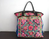 SALE final price - Oversized tote - Ethnic / Hip / Tribal / Hmong / Miao / Bohemian Tote - 586