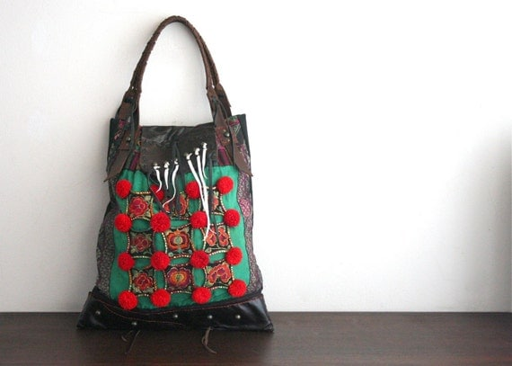 DAZZLING TOTE - Hip\/Tribal\/Vintage\/Hmong\/Miao\/Ethnic\/Unique bag - HM070A