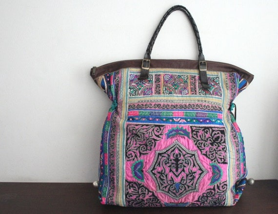 Oversized tote - Ethnic / Hip / Tribal / Hmong / Miao / Bohemian Tote - 597