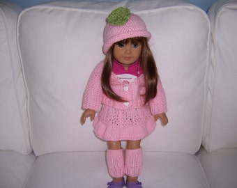 American Girl or 18 inch Knitted 4 pc. Outfit