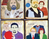 Coasters, The Big Lebowski, The dude art, Film Geek, Drawing, The Big Lebowski gift, Movie wall art, Film buff home decor, Men