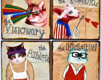 Coasters, Art, Cats, Cat lover gift, Animals, Mixed media, Quirky art, Unique gift ideas, Cool wall art, Affordable art, Cat Crazy
