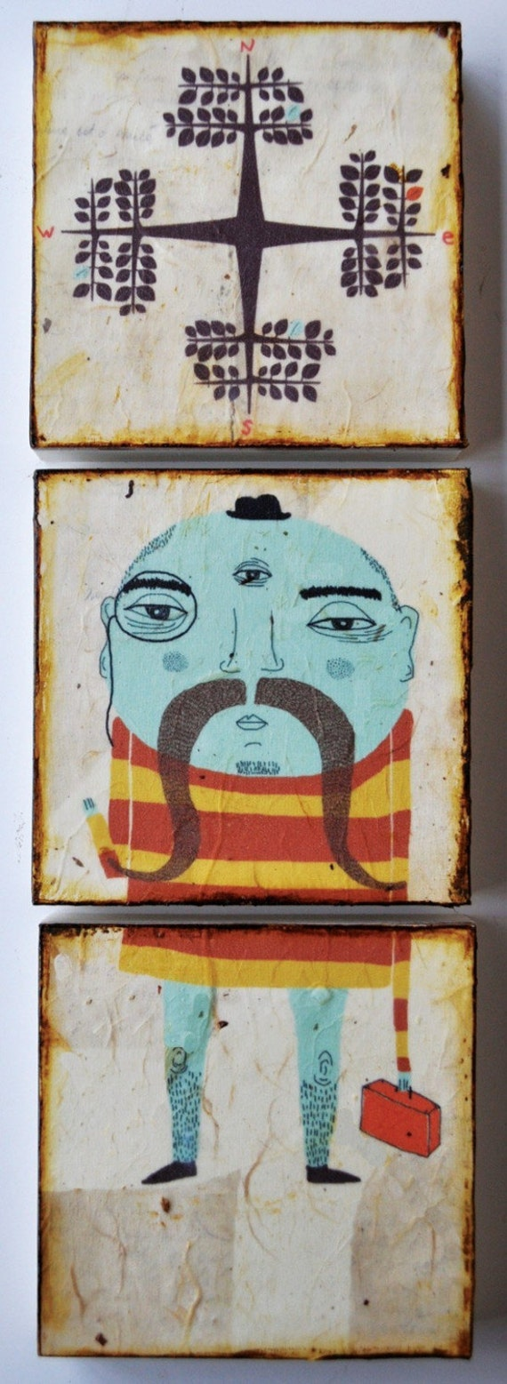 Important Trip to Somewhere Important-mixed media print on wood