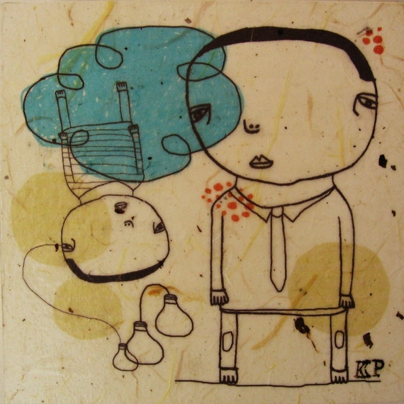 Business Man-mixed media print on wood panel