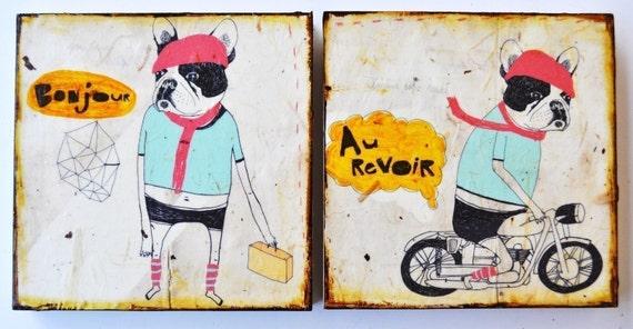 Bonjour/Au Revoir-mixed media prints on wood panels