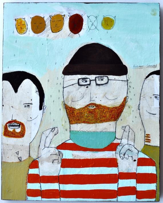 Fingers Crossed- Original mixed media painting
