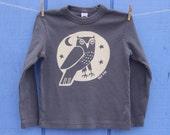 Custom for Azra- Woodland Grey Owl Long Sleeve Kid Tee