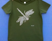 Olive Dragonfly Kids Tee 2, 4, 6, 8, 10 and 12